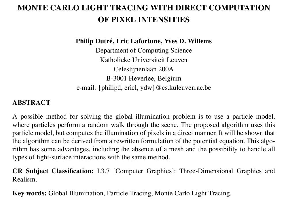 Monte Carlo light tracing with direct computation of pixel